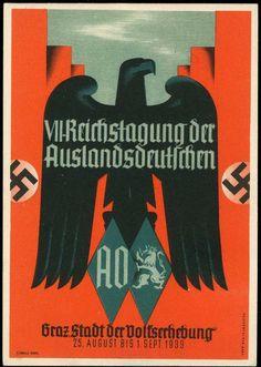 Auslandsdeutsche: mehrfarbige Propagandakarte zur VII. Reichstagung der Auslandsdeutschen vom August/September 1939 in Graz (Stadt der Volkserhebung). Vs. Reichsadler und Hakenkreuzfahnen, Blankokarte, rs. mit SST vom 26.8.1939,