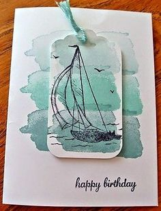 Retired-Rare-Stampin-Up-SAIL-AWAY-Single-Stamp-Set-Sailboat-Boat-Masculine-NEW