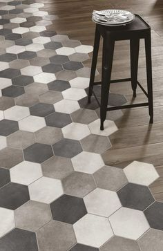 bathroom with large hexagon floor tile - Google Search