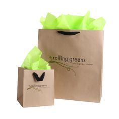 Custom Kraft Paper Shopping Bags with Ribbon Handles #rollinggreensshoppingbag #kraft #kraftbags #rollinggreens #shoppingbags #paperbags #packaging