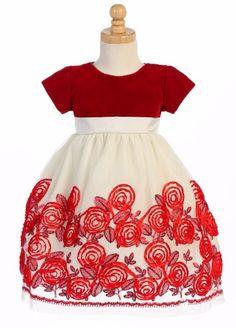 Ivory Tulle Girls Holiday Dress W. Red Velvet Bodice & Satin Floral Soutache