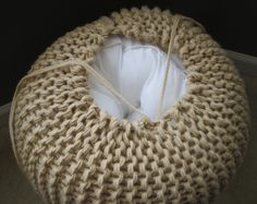 Large Knit Pouf Lace Not stuffed by LuckyHanks on Etsy