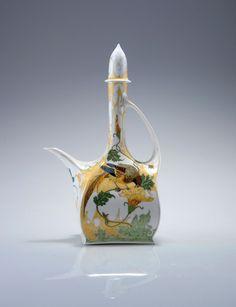 "** Rozenburg, Den Haag, ""Eggshell"" Porcelain tea pot, painted by Schellink, Samuel."