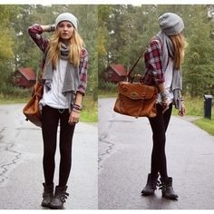 Fall outfit beanie flanel