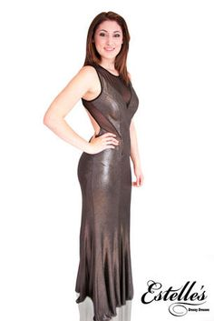 Betsy & Adam- Lycra metallic gown with sheer waist and a open back with a zipper - A14893 in Black/Silver at Estelle's Dressy Dresses! #estellesdressydresses