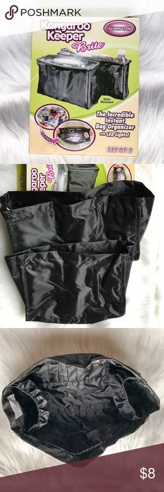 """Kangaroo Keeper Brite•Set of 2 Purse Organizers Kangaroo Keeper Bright It's the amazing bag organizer that has a built in LED light to make finding items in your bag quick and easy. This reversible purse organizer holds over 70 items securely and makes switching between handbags fast and simple. Polyester, 13""""L x 6 3/4""""W x 3""""H. Measurements for 2nd smaller bag will be updated shortly. Kangaroo Keeper Bags"""