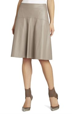 Taupe leather skirt.