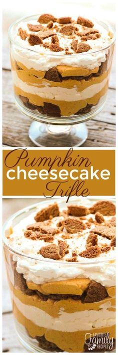 This Pumpkin Cheesecake Trifle is smooth and creamy, and it takes less than 30 minutes to make! It is the perfect pumpkin dessert for the fall. via (Pumpkin Cheesecake Recipes) Mini Desserts, Trifle Desserts, Just Desserts, Delicious Desserts, Dessert Recipes, Dessert Trifles, Layered Desserts, Chef Recipes, Healthy Desserts