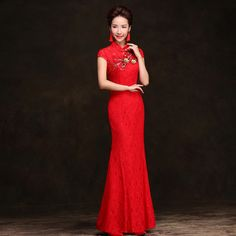 chinese lace red cheongsam chipao dresses long chinese embroidery Stand collar applique