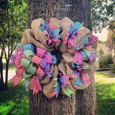 Multi Color Bright Chevron Ribbon & Burlap Wreath for a 3rd Grade teachers home room door at school next year
