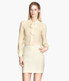 #Bow #blouse in #chiffon with buttons at front and long sleeves with cuffs.