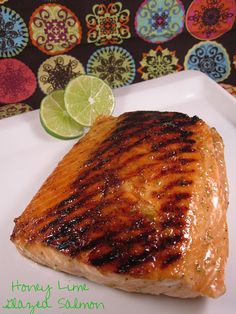 Honey Lime Glazed Salmon.   Ingredients 1 pound salmon filet or 4 1/4 pound filets 2 tablespoons honey 2 teaspoons grated lime zest 1/4 teaspoon black pepper 3/4 teaspoon salt  Stir together honey, lime zest, salt and pepper. Brush on flesh side of filets.