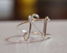 "initial ""N"" wire wrapped ring"