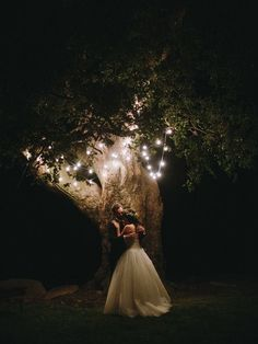 This is a magical illuminated night wedding photo.