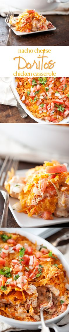 Make sure Doritos are gf and use her cream soup alternative recipe but with cornstarch or other gf flour.Doritos Chicken Casserole - nacho cheese Doritos, chicken, and cheese all baked in a delicious casserole! Doritos Chicken, Chicken Nachos, Chicken Casserole, Casserole Recipes, Doritos Casserole, Chicken Soup, Nacho Cheese, Snacks, Gastronomia