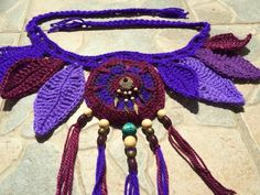 Purple leaf crochet pocket belt / utility belt / dance wear