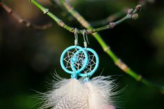 Large Blue and Silver Dream Catcher Earrings by nZuriArtDesigns