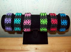 Rainbow Loom All Around Cuff Rubber Band Bracelet - Triple Single Fishtail - Black and 6 Different Color Choices Fishtail Bracelet, Rubber Band Bracelet, Loom Bands, Rainbow Loom, Over The Rainbow, Rubber Bands, Different Colors, Choices, Cuffs
