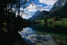 Bavarian Alps, Germany      Clouds above, and reflected in, the still waters of Hintersee in the Bavarian Alps.