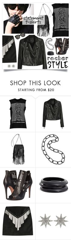 """""""Statement T-shirt"""" by retrocat1 ❤ liked on Polyvore featuring Boohoo, Paige Denim, Yves Saint Laurent, Bridget King, Rebecca Minkoff, ZENZii, Anthony Vaccarello, Bee Goddess and Gentle Monster"""