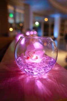 Flowers in water with LED light