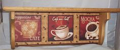 Wood Mocha Wall Shelf Coffee Cafe Home Decor Espresso Latte Decoration in Home & Garden | eBay