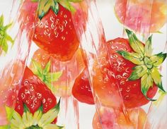 Composition Painting, Picture Composition, Composition Design, Watercolor Fruit, Fruit Illustration, Japan Design, Colorful Drawings, Illustrations And Posters, Character Drawing