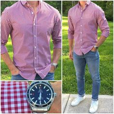 This red gingham shirt just screams summer❗️🍔🌭🌽🍻🐜 And, all of the new summer shirts launch on their site… Red Gingham Shirt, Stylish Men, Men Casual, Casual Shoes, Look Man, Mein Style, Herren Outfit, Business Casual Outfits, Gentleman Style