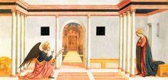 Благовещение. ок. 1445 г.Доменико Венециано. Темпера по дереву. Музей Фицуильям, Кембридж.