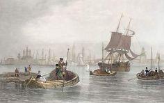 Archangel  harbour White Sea, Antique Prints, Sailing Ships, Russia, Archangel, Riga, Frankenstein, Slot, Centre