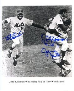 1969 World Series Celebration 8x10 Photo Autographed/ Original Signed by Three New York Mets - Jerry Koosman, Jerry Grote and Ed Charles by Original Sports Autographs. $49.99. Historic baseball photo signed by three members of the 1969 New York Mets celebrating the win by Jerry Koosman of Game 5 of the World Series. Excellent sharpie signatures of Koosman, his catcher Jerry Grote and outfielder Ed Charles. Great Mets item. All signatures obtained In-person a...