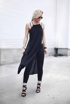 Minimal and super chic, loving the all black combo of silk tunic, denim and gorgeous heels … photos of Mary @ Happily Grey x debra  follow on bloglovin'