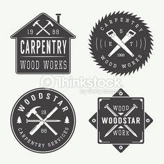 Vector Art : Set of vintage carpentry and mechanic labels, emblems and logo