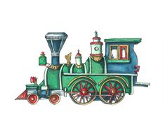 You are purchasing a watercolor print featuring a vintage train. This item is perfect for any childs room or nursery. The image is printed on premium archival fine art paper. I also have other prints available in the vintage transportation series. Zug Illustration, Train Clipart, Train Drawing, Photo Zone, Trains, Baby Barn, Fine Art Prints, Canvas Prints, Train Art