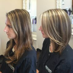 Before and after of a great make over on my client. She wanted a fun new look so I added highlights and lowlights and took her hair up to style in a long bob look. Loving the Lob - Jordan McClane Hair Designs
