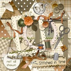 Digital Scrapbook Kit - Stitched in Time
