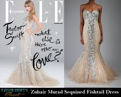Taylor Swift stunned in an embellished Zuhair Marad Sequin Fishtail Dress on the cover of the newest Elle Canada magazine.  This sequined show-stopper enhances and glamorizes every inch of any body.  Prom inspiration anyone?