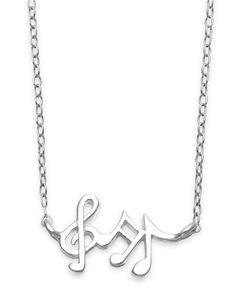 Unwritten Mini Music Notes Pendant Necklace in Sterling Silver - Necklaces - Jewelry & Watches - Macy's