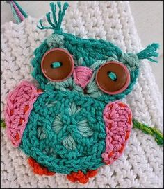 Applique Crochet Owl pattern by Anji Beane