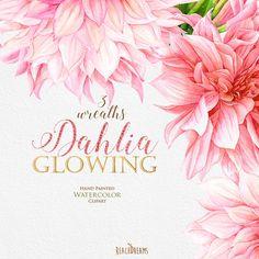 Clipart Watercolor Dahlias Flowers Wreaths Wedding by ReachDreams