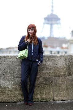 At PFW by Victoria Adamson (wearing Paula Cademartori bag, GAP bomber and shirt, Chloé trousers and Portamento boots)