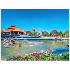 """WEBSTA @ ayodyabali - This pond said """"Welcome to Ayodya Resort Bali""""#ayodya #ayodyabali #bali #nusadua #vacation #holiday #leisure #travel #resort #sky #blue #pond"""