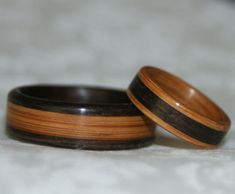 Wooden Wedding Rings with Inlay using the woods of your by MnMWoodworks, $200.00 Unique matching wedding bands