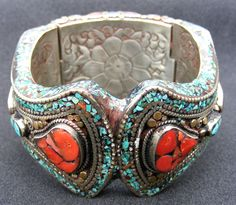 India | A Tibetan hand made bracelet | Sterling silver, coral and turquoise.