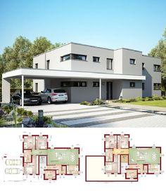 Minimalistisches Doppelhaus mit Flachdach Haus