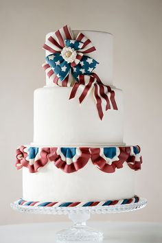 Vintage American Patriotic Bunting Cake   by Erin Gardner for TheCakeBlog.com 4th of July Cake Fourth of July