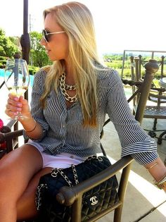 This is so me! Stripes, check, Chanel bag, check, glass of wine double check!   +++For tips + ideas on #style and #fashion,visit http://www.makeupbymisscee.com/
