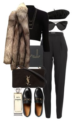 """Untitled #10135"" by nikka-phillips ❤ liked on Polyvore featuring Gucci, Linda Farrow, Vionnet, Again, ERTH, 32 Paradis Sprung Frères, Yves Saint Laurent and Chanel"
