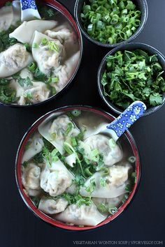 """Vegetarians who need a quick wonton fix need to look no further than this recipe. Tofu substitute for """"meat"""", working together with shiitake mushroom, wood ear mushroom, carrot, and scallions, this is definitely a winning combination that even carnivores will fall in love with. To get the best result, you MUST drain and press your..."""