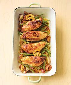 Pan-Roasted Chicken With Lemon-Garlic Green Beans